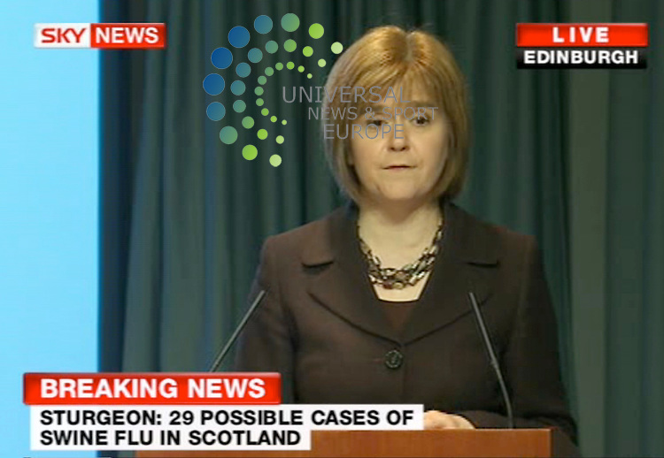 Health Secretary Nicola Sturgeon at news conference today. She said that in total, test results are awaited on 29 Scots suspected of having swine flu. .Picture: Universal News and Sport (Scotland) 01/5/09 .