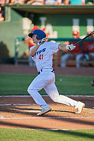 Chris Roller (41) of the Ogden Raptors bats against the Orem Owlz at Lindquist Field on June 19, 2018 in Ogden, Utah. The Raptors defeated the Owlz 7-2. (Stephen Smith/Four Seam Images)