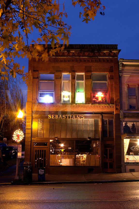 Sebastian's Restaurant on First Street, downtown Snohomish, Snohomish County, Washington, USA