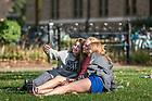 September 29, 2017; Studetns take a selfie on North Quad. (Photo by Matt Cashore/University of Notre Dame)