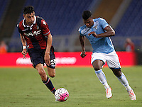 Calcio, Serie A: Lazio vs Bologna. Roma, stadio Olimpico, 22 agosto 2015.<br /> Lazio&rsquo;s Keita Diao, right, is chased by Bologna&rsquo;s Alex Ferrari during the Italian Serie A football match between Lazio and Bologna at Rome's Olympic stadium, 22 August 2015.<br /> UPDATE IMAGES PRESS/Isabella Bonotto
