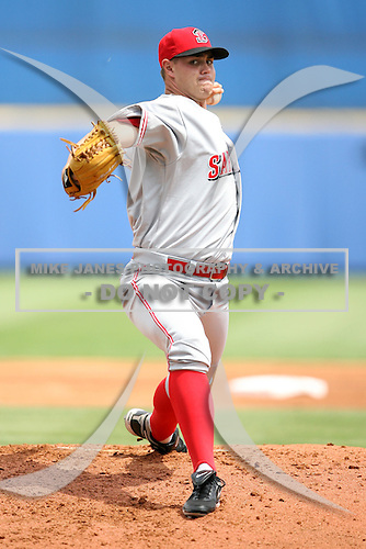 April 12, 2009:  Pitcher Jeremy Horst of the Sarasota Reds Florida State League Class-A affiliate of the Cincinnati Reds, during a game at Tradition Field in St. Lucie, FL.  Photo by:  Mike Janes/Four Seam Images
