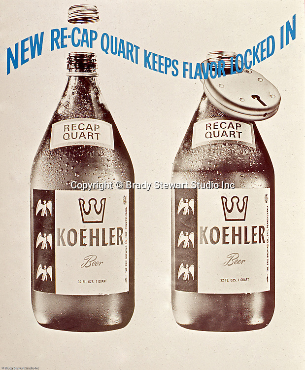 Erie Brewing Company 1965:  New Re-Cap feature for Quart Bottles of Koehler Beer.  Advertisement was completed for Koehler's Pittsburgh Advertising Agency; Lando Inc.  Lando Inc owned and was located in the same building as Brady Stewart Studio - 725 Liberty Avenue in downtown Pittsburgh.