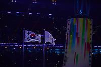 OLYMPIC GAMES: PYEONGCHANG: 09-02-2018, PyeongChang Olympic Stadium, Olympic Games, Opening Ceremony, Korean flag and Olympic flag, ©photo Martin de Jong