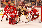 Brandon Hickey (BU - 4), Graham McPhee (BC - 27) - The Boston University Terriers defeated the Boston College Eagles 3-1 in their opening Beanpot game on Monday, February 6, 2017, at TD Garden in Boston, Massachusetts.