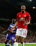 Marcus Rashford of Manchester United reacts in frustration after missing a chance during the UEFA Europa League Quarter Final 2nd Leg match at Old Trafford, Manchester. Picture date: April 20th, 2017. Pic credit should read: Matt McNulty/Sportimage