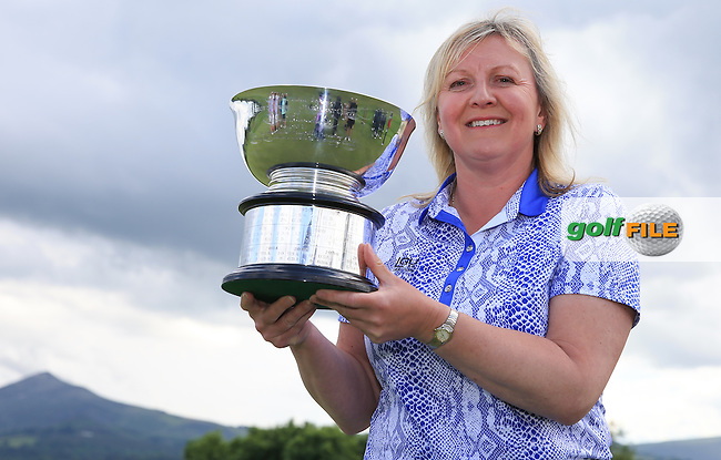 Victorious Team Captain Elaine Farquharson-Black with the 2016 Curtis Cup, played at Dun Laoghaire GC, Enniskerry, Co Wicklow, Ireland. 12/06/2016. Picture: David Lloyd | Golffile. <br /> <br /> All photo usage must display a mandatory copyright credit to &copy; Golffile | David Lloyd.