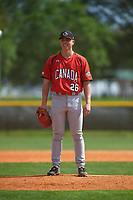 Canada Junior National Team pitcher Justin Thorsteinson (26) during an exhibition game against the Toronto Blue Jays on March 8, 2020 at Baseball City in St. Petersburg, Florida.  (Mike Janes/Four Seam Images)