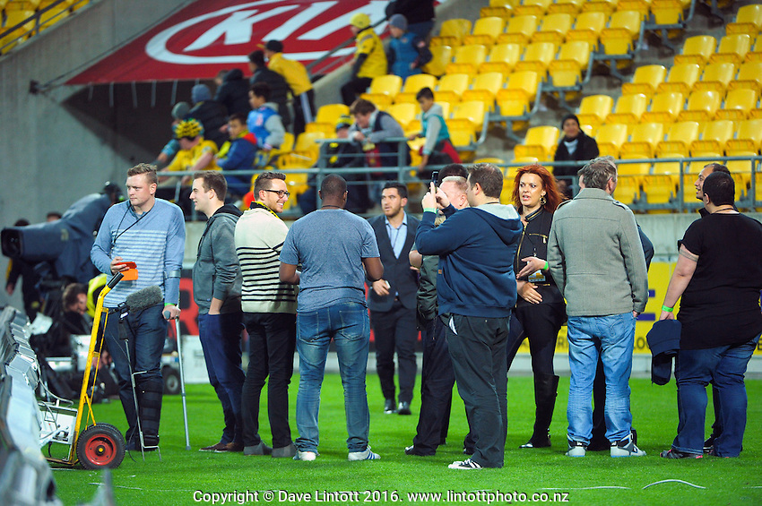 Guests check out the pitch before the Super Rugby match between the Hurricanes and Reds at Westpac Stadium, Wellington, New Zealand on Saturday, 14 May 2016. Photo: Dave Lintott / lintottphoto.co.nz