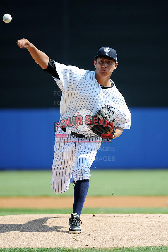 Staten Island Yankees pitcher Giovanny Gallegos (53) during game against the Batavia Muckdogs at Richmond County Bank Ballpark at St.George on July 18, 2013 in Staten Island, NY.  Batavia defeated Staten Island 8-2.  (Tomasso DeRosa/Four Seam Images)