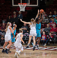 STANFORD, CA - December 4, 2016: Nadia Fingall at Maples Pavilion. Stanford defeated UC Davis, 68-42. The Cardinal wore turquoise uniforms to honor Native American Heritage Month