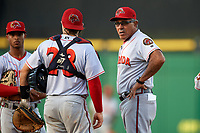 Florida Fire Frogs manager Luis Salazar (4) makes a pitching change as catcher Brett Cumberland (23) and shortstop Ray-Patrick Didder (left) look on during a game against the Clearwater Threshers on June 1, 2018 at Spectrum Field in Clearwater, Florida.  Florida defeated Clearwater 12-10.  (Mike Janes/Four Seam Images)