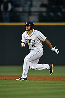 Left fielder Tim Tebow (15) of the Columbia Fireflies takes a lead off second in a game against the Lakewood BlueClaws on Friday, May 5, 2017, at Spirit Communications Park in Columbia, South Carolina. Lakewood won, 12-2. (Tom Priddy/Four Seam Images)