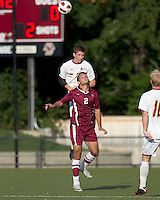Boston College defender Ryan Dunn (3) and Harvard University forward Michael Innocenzi (2) battle for head ball. Boston College defeated Harvard University, 2-0, at Newton Campus Field, October 11, 2011.