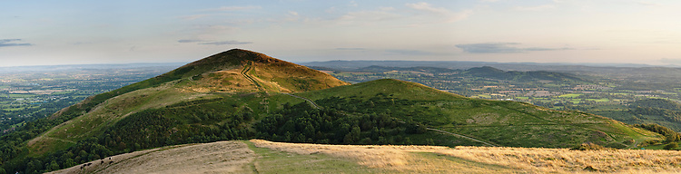Panoramic yiew of Worcestershire Beacon from North Hill, The Malverns, Worcestershire, Uk