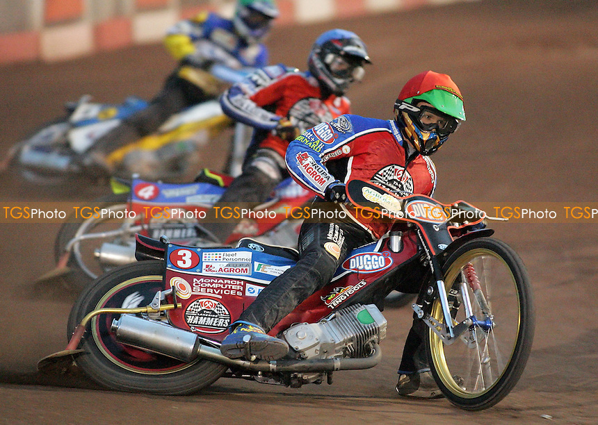 Heat 9 - Kasprzak (red), Hefenbrock, Miskowiak - Lakeside Hammers vs Ipswich Witches - Sky Sports Elite League B Speedway at Arena Essex - 25/05/07 - MANDATORY CREDIT: Gavin Ellis/TGSPHOTO - SELF-BILLING APPLIES WHERE APPROPRIATE. NO UNPAID USE -  Tel: 0845 0946026