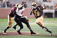 Texas State running back Terrence Franks (20) rushes with the ball during NCAA Football game, Thursday, November 20, 2014 in San Marcos, Tex. Texas State leads Arkansas State 28-14 at the halftime. (Mo Khursheed/TFV Media via AP Images)