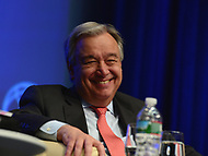 "Washington, DC - April 21, 2017:  United Nations Secretary General Antonio Guterres participates in the""Financing for Peace"" panel discussion during the annual Spring Meetings of the IMF/World Bank Group at the IMF headquarters in the District of Columbia April 21, 2017.  (Photo by Don Baxter/Media Images International)"