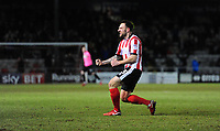Lincoln City's Neal Eardley celebrates scoring the opening goal<br /> <br /> Photographer Chris Vaughan/CameraSport<br /> <br /> The EFL Sky Bet League Two - Lincoln City v Cheltenham Town - Tuesday 13th February 2018 - Sincil Bank - Lincoln<br /> <br /> World Copyright &copy; 2018 CameraSport. All rights reserved. 43 Linden Ave. Countesthorpe. Leicester. England. LE8 5PG - Tel: +44 (0) 116 277 4147 - admin@camerasport.com - www.camerasport.com