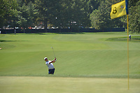 Hideki Matsuyama (JPN) chips on to 8 during 3rd round of the 100th PGA Championship at Bellerive Country Club, St. Louis, Missouri. 8/11/2018.<br /> Picture: Golffile | Ken Murray<br /> <br /> All photo usage must carry mandatory copyright credit (&copy; Golffile | Ken Murray)