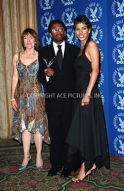 (L to R) Martha Coolidge (President of DGA), Spike Lee and Halle Berry at the 3rd Annual Directors Guild of America Awards. New York, June 9, 2002. Please byline: Alecsey Boldeskul/NY Photo Press.   ..*PAY-PER-USE*      ....NY Photo Press:  ..phone (646) 267-6913;   ..e-mail: info@nyphotopress.com