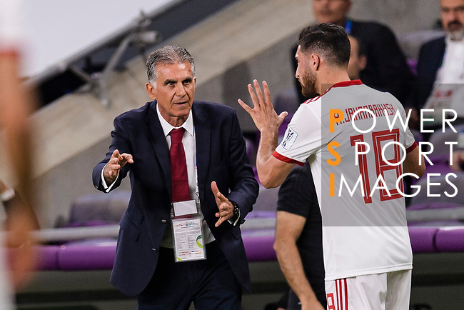 Iran Head Coach Carlos Quieroz (L) gives instruction to Alireza Jahan Bakhsh Jirandeh of Iran (R) during the AFC Asian Cup UAE 2019 Semi Finals match between I.R. Iran (IRN) and Japan (JPN) at Hazza Bin Zayed Stadium  on 28 January 2019 in Al Alin, United Arab Emirates. Photo by Marcio Rodrigo Machado / Power Sport Images