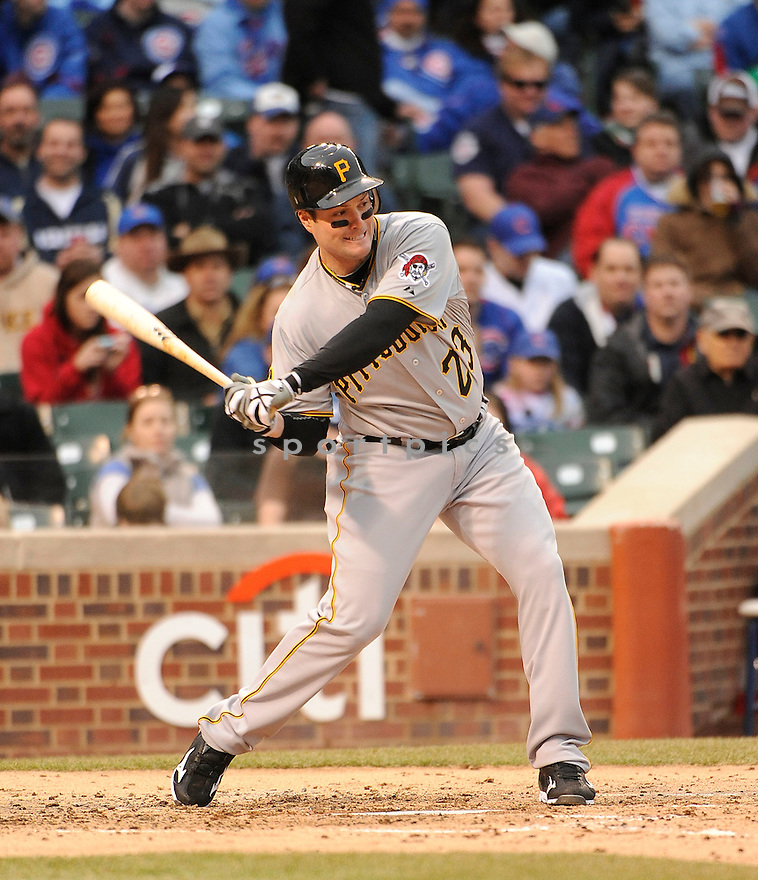 MATT DIAZ, of the Pittsburgh Pirates, in actions during the Pirates game against the Chicago Cubs at Wrigley FIeld on April 3, 2011.  The Pirates won the game beating the Cubs 5-4.