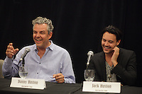 August 25 2012 - Montreal (Qc) CANADA -  News Conference for TWO JACKS with Danny Huston, actor  (L), his son Jack Huston, actor and Julia Verdin, producer.<br /><br />TWO JACKS is in the Official Competien of Montreal World Film Festival that run til September 3, 2012.<br /><br />Danny Huston is the son of filmmaker John Huston