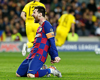 27th November 2019; Camp Nou, Barcelona, Catalonia, Spain; UEFA Champions League Football, Barcelona versus Borussia Dortmund;  Leo Messi misses a good scoring chance - Editorial Use