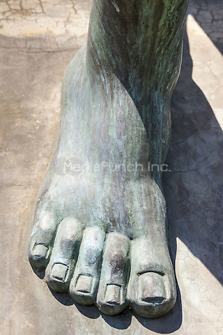 Man&rsquo;s foot, Downfall sculpture by Dimitrie Cusa, Constanta, Romania commemorating 10th anniversary of Romanian Revolution  June 2015<br /> CAP/MEL<br /> &copy;MEL/Capital Pictures /MediaPunch ***NORTH AND SOUTH AMERICA ONLY***