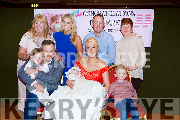 Margaret Qulligan celebrated her christening with her family in the Killarney Avenue on Sunday front row l-r: James Quiligan, Amanda buckley, Margaret quliigan and Jayden Reid. Back row: Margaret and Louise Qulligan, Alab Buckley and Margaret Buckley