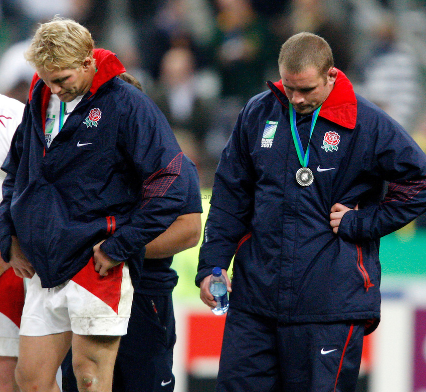 Photo: Richard Lane/Richard Lane Photography..England v South Africa. The Final of the IRB Rugby World Cup, RWC 2007. 20/10/2007. .England dejection (lt to rt) Lewis Moody and Phil Vickery.