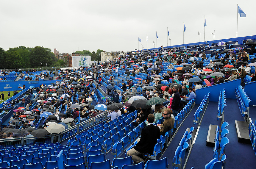 Rain prevents play on the 6th day of the AEGON Championship at Queens<br /> <br /> Photographer Ashley Western/CameraSport<br /> <br /> Tennis - ATP 500 World Tour - AEGON Championships- Day 6 - Saturday 20th June 2015 - Queen's Club - London <br /> <br /> &copy; CameraSport - 43 Linden Ave. Countesthorpe. Leicester. England. LE8 5PG - Tel: +44 (0) 116 277 4147 - admin@camerasport.com - www.camerasport.com