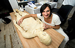 "Experimental Food Society event in Brick Lane London.25.9.10.Weird and wacky food art..Bread artist Sharon Baker made a life sized model of her own body - she looked ""brown bread"" but the flour was white...Picture by Gavin Rodgers/ Pixel 07917221968"