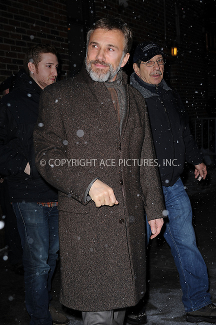 WWW.ACEPIXS.COM . . . . . ....February 10 2010, New York City....Actor Christoph Waltz stands in the snow outside the ;Late Show with David Letterman' on Febueary 10 2010 in New York City....Please byline: KRISTIN CALLAHAN - ACEPIXS.COM.. . . . . . ..Ace Pictures, Inc:  ..(212) 243-8787 or (646) 679 0430..e-mail: picturedesk@acepixs.com..web: http://www.acepixs.com