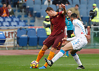 Roma&rsquo;s Edin Dzeko, left, is challenged by Napoli&rsquo;s Raul Albiol during the Italian Serie A football match between Roma and Napoli at Rome's Olympic stadium, 4 March 2017. <br /> UPDATE IMAGES PRESS/Riccardo De Luca