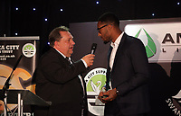 Pictured L-R: Kevin Johns speaks to Leroy Fer Wednesday 18 May 2017<br />Re: Swansea City FC, Player of the Year Awards at the Liberty Stadium, Wales, UK.