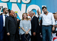 "Italian right parties leaders, from left, Forza Italia's Silvio Berlusconi, Brothers of Italy's Giorgia Meloni and League's Matteo Salvini, greet supporters at the end of the so-called ""Italian Pride!"" political rally against government's economic policies in St. John Lateran Square, Rome, Italy, October 19, 2019.<br /> Update Images Press/Riccardo De Luca"