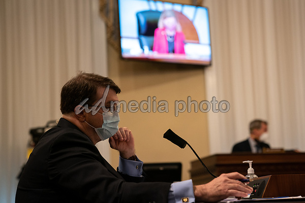 United States Secretary of Veterans Affairs (VA) Robert Wilkie, looks at a TV monitor as Chairwoman US Representative Debbie Wasserman Schultz (Democrat of Florida) speaks at a hearing with the House Appropriations Subcommittee on Military Construction, Veterans Affairs, and Related Agencies on Capitol Hill in Washington DC, on May 28th, 2020.<br /> Credit: Anna Moneymaker / Pool via CNP/AdMedia