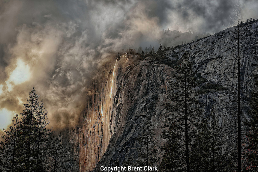 A winter storm breaks over Yosemite's El Capitan & Horsetail Falls.