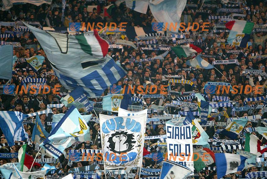 Roma 11/2/2004  Coppa Italia Semifinale / Italy Cup <br /> Lazio Milan 4-0 <br /> Tifosi della Lazio festeggiano durante la partita<br /> Lazio Fans<br /> Foto Andrea Staccioli Insidefoto