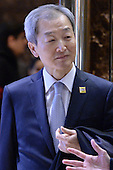 Ahn Ho-young, Ambassador of South Korea to the United States, seen in lobby of the Trump Tower in New York, NY, on January 4, 2017. <br /> Credit: Anthony Behar / Pool via CNP