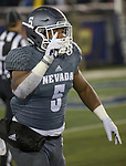 Nevada running back Jaxson Kincaide (5) celebrates after running for a touchdown against Colorado State in the second half of an NCAA college football game in Reno, Nev., Saturday, Oct. 27, 2018. (AP Photo/Tom R. Smedes)