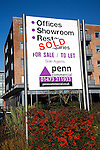 Sold sign for Penn estate agent commercial property at the Waterfront development around the Wet Dock, Ipswich, Suffolk, England