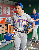 New York Mets third baseman T.J. Rivera (54) carries his gear to the clubhouse following his team's 1 - 0 loss to Washington Nationals at Nationals Park in Washington, D.C. on Wednesday, September 14, 2016.  The Nationals won the game 1 - 0.<br /> Credit: Ron Sachs / CNP<br /> (RESTRICTION: NO New York or New Jersey Newspapers or newspapers within a 75 mile radius of New York City)