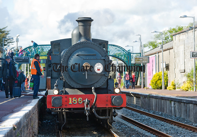 A steam engine arrives at the platform in Ennis Station on the Railway Preservation Society Of Ireland South Clare Railtour. Photograph by John Kelly.