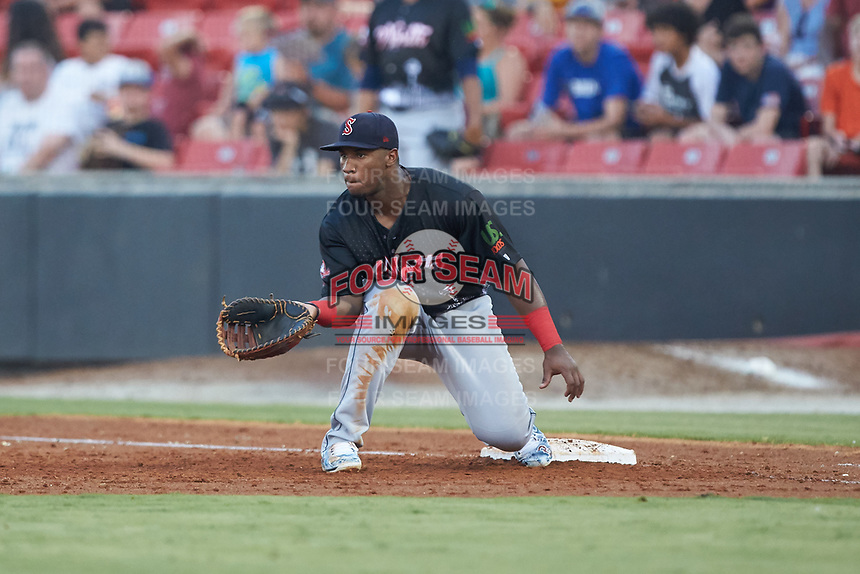 North Division first baseman Jerry Downs (44) of the Salem Red Sox waits for a throw during the 2018 Carolina League All-Star Classic at Five County Stadium on June 19, 2018 in Zebulon, North Carolina. The South All-Stars defeated the North All-Stars 7-6.  (Brian Westerholt/Four Seam Images)