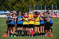 Kansas City, MO - Wednesday August 16, 2017: FC Kansas City  during a regular season National Women's Soccer League (NWSL) match between FC Kansas City and the Orlando Pride at Children's Mercy Victory Field.