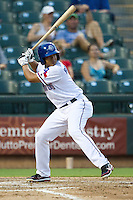 Round Rock Express designated hitter Guilder Rodriguez #5 at bat during the Pacific Coast League baseball game against the Omaha Storm Chasers on July 22, 2012 at the Dell Diamond in Round Rock, Texas. The Express defeated the Chasers 8-7 in 11 innings. (Andrew Woolley/Four Seam Images).