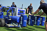 A view of Bath Rugby's new scrum machine. Bath Rugby training session on August 27, 2013 at Farleigh House in Bath, England. Photo by: Patrick Khachfe/Onside Images